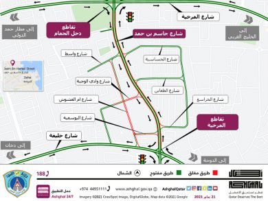 Photo of إغلاق مسار واحد في الاتجاهين على جزء من شارع جاسم بن حمد