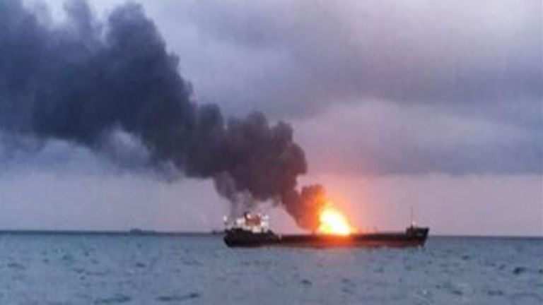 Photo of حريق في سفينة روسيّة في بحر اليابان